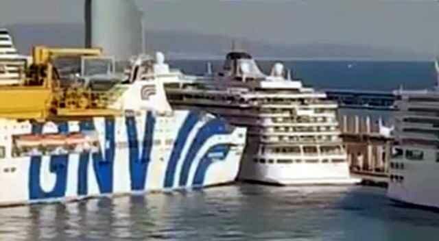 Паром врезается в круизный корабль в порту Барселоны