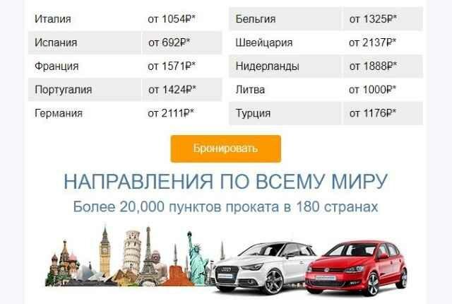 Прокат авто в Европе